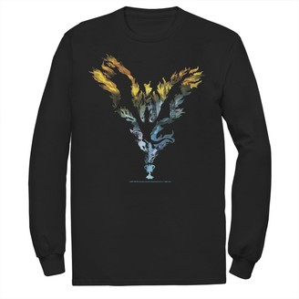 Dragon Optical Licensed Character Men's Harry Potter Flame Silhouette Long Sleeve Tee