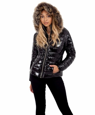 Lexi Fashion Ladies Womens Wet Look Shiny Jacket Vinyl PVC PU Faux Leather Puffer Bubble Quilted Padded Faux Fur Hooded Winter Warm Parka Bomber Thick Coat Size 12 Black