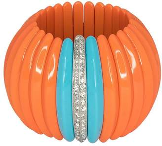 Kenneth Jay Lane Coral Turquoise Stretch Cuff