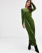 Glamorous midi dress with peplum hem in velvet