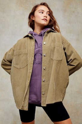 Topshop Womens Khaki Denim Corduroy Shacket - Khaki