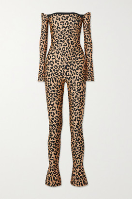 Halpern Off-the-shoulder Leopard-print Stretch-jersey Jumpsuit - Leopard print