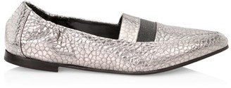 Brunello Cucinelli Monili-Trimmed Croc-Embossed Metallic Leather Loafers