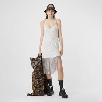 Burberry Crystal Fringe Cotton Mesh Dress