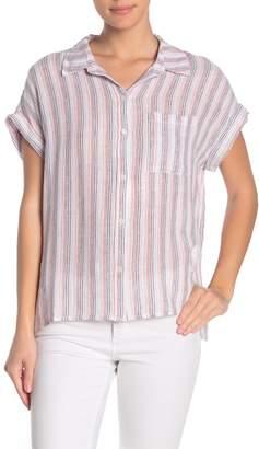 Sanctuary Mod Striped Short Sleeve Boyfriend Shirt
