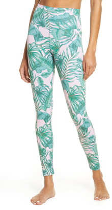 Beach Riot Piper Pink Palm High Waist Leggings