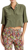 Equipment Cropped Short Sleeve Silk Blouse