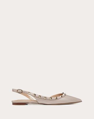Valentino Rockstud Patent Leather Slingback Ballet Flat Women Poudre Calfskin 100% 41.5