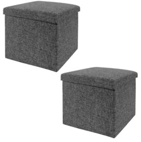 Seville Classics Foldable Storage Ottoman, Set Of 2