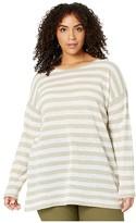 Eileen Fisher Plus Size Organic Linen Cotton Crew Neck Tunic (Natural White) Women's Clothing