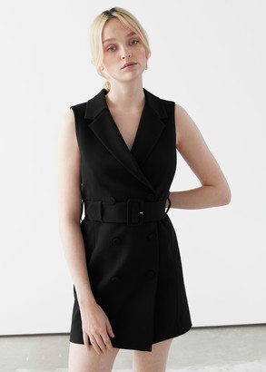 And other stories Double Breasted Sleeveless Belted Mini Dress
