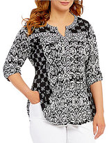 Westbound Plus 3/4 Roll Sleeve Y-Neck Top