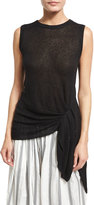 Brunello Cucinelli Paillette-Embellished Tie-Waist Top, Black