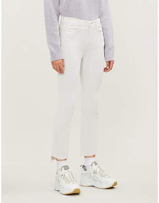 Mother The Insider Crop flared straight high-rise corduroy jeans