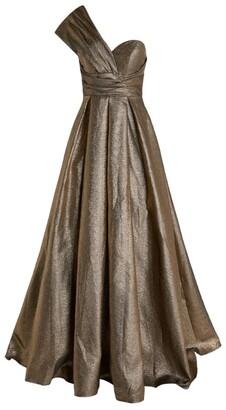 Jovani Metallic One-Shoulder Gown