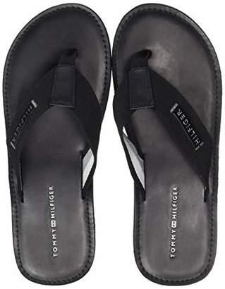 Tommy Hilfiger Men's Elevated Leather Beach Sandal Flip Flops, Black (Black 990), (41 EU)