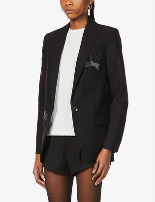 Zadig & Voltaire Viva embellished single-breasted crepe blazer