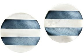 Aeravida Handmade Iridescent Stripes White Kabibe and Abalone Shell Round Stud Earrings