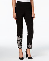 Style&Co. Style & Co Embroidered Ponté-Knit Pull-On Pants, Created for Macy's
