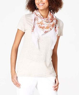 J. Jill J.Jill Women's Tee Shirts FLAX - Flax Linen-Knit Crossover-Hem Tee - Plus