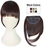 REECHO Fashion One Piece Clip in Hair Bangs / Fringe / Hair Extensions Color: Dark Brown