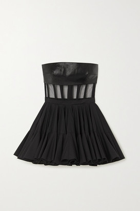 David Koma Grosgrain-trimmed Leather, Tulle And Cotton-poplin Mini Dress - Black