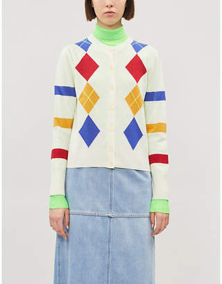 Benetton Geometric-pattern cropped wool-blend cardigan