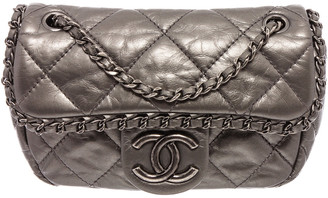Chanel Pewter Quilted Leather Mini Chain Me Single Flap Bag