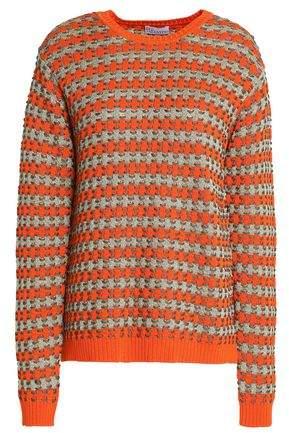 RED Valentino Metallic Cotton-Blend Jacquard-Knit Sweater