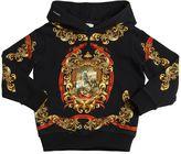 Dolce & Gabbana Hooded Crest Printed Cotton Sweatshirt