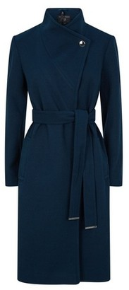 Dorothy Perkins Womens Teal Blue Funnel Neck Wrap Coat, Blue