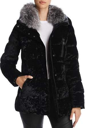 Andrew Marc Vara Fox Fur Trim Velvet Down Coat