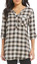 Intro Petites Roll-Tab Sleeve Plaid Print Button Front Scarf Print Back Top