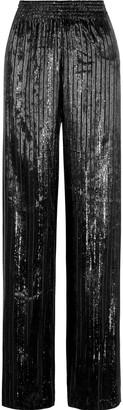 Alice + Olivia Elba Striped Metallic Velvet Wide-leg Pants