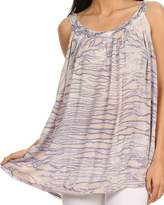 Sakkas 11628 - Rachel Verigated Embroidered neck Picot trim Tank top - OS