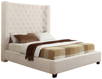 Best Master Furniture Jamie Upholstered Tower High Profile Contemporary Bed, Cream, Eastern