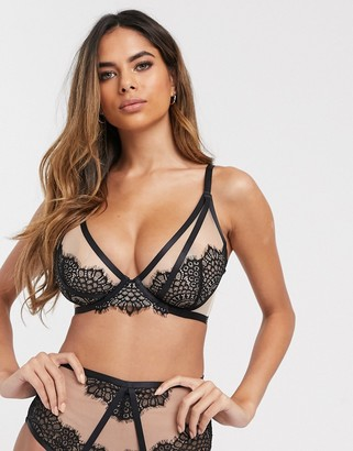 Figleaves Fleur eyelash lace and mesh non-padded plunge bra in black