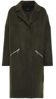 Maje Grimala Wool And Cotton-blend Felt Coat