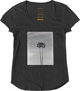 RVCA Juniors Twin Palms Loose Fit Scoop Neck Graphic Tee