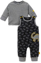 Offspring Two-Piece Cotton Dino Printed Overall and Striped Tee Set