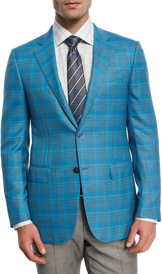 Ermenegildo Zegna Plaid Two-Button Sport Coat, Aqua