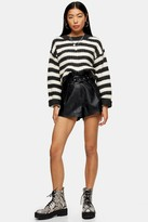 Topshop Womens Tall Black Faux Leather Pu Belted Shorts - Black