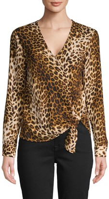 Supply & Demand Leopard-Print Faux Wrap Top