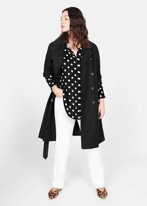 MANGO Violeta BY Polka-dot printed long shirt black - 10 - Plus sizes