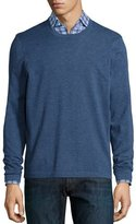 Neiman Marcus Superfine Cashmere Crewneck Sweater, Blue