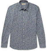 Burberry Slim-fit Floral-print Cotton Shirt - Blue