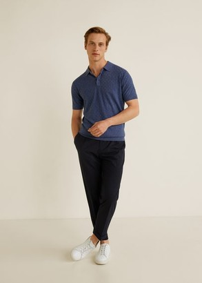 MANGO MAN - Cotton linen knit polo indigo blue - XL - Men