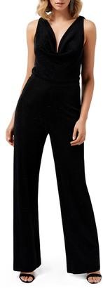 Ever New Willa Cowl Neck Shimmer Velvet Jumpsuit