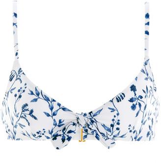 Agua Bendita Tamarindo Acacias-Print Knotted Bikini Top