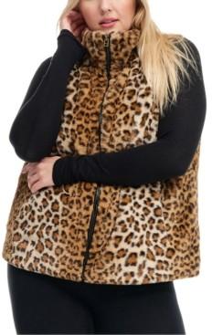 Fever Plus Size Leopard-Print Faux-Fur Vest